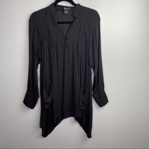 Spence Women's black tunic top with pocket Sz M